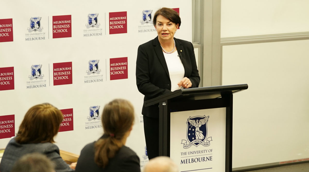 Australian Bankers Association CEO Anna Bligh speaking at the Competition in Banking Conference at Melbourne Business School in June 2018