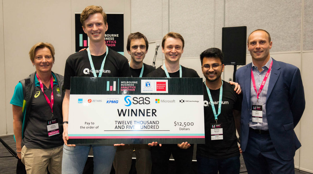 2019 Melbourne Business Analytics Datathon winners Team Quantium with competition judge Cathryn Fitzpatrick