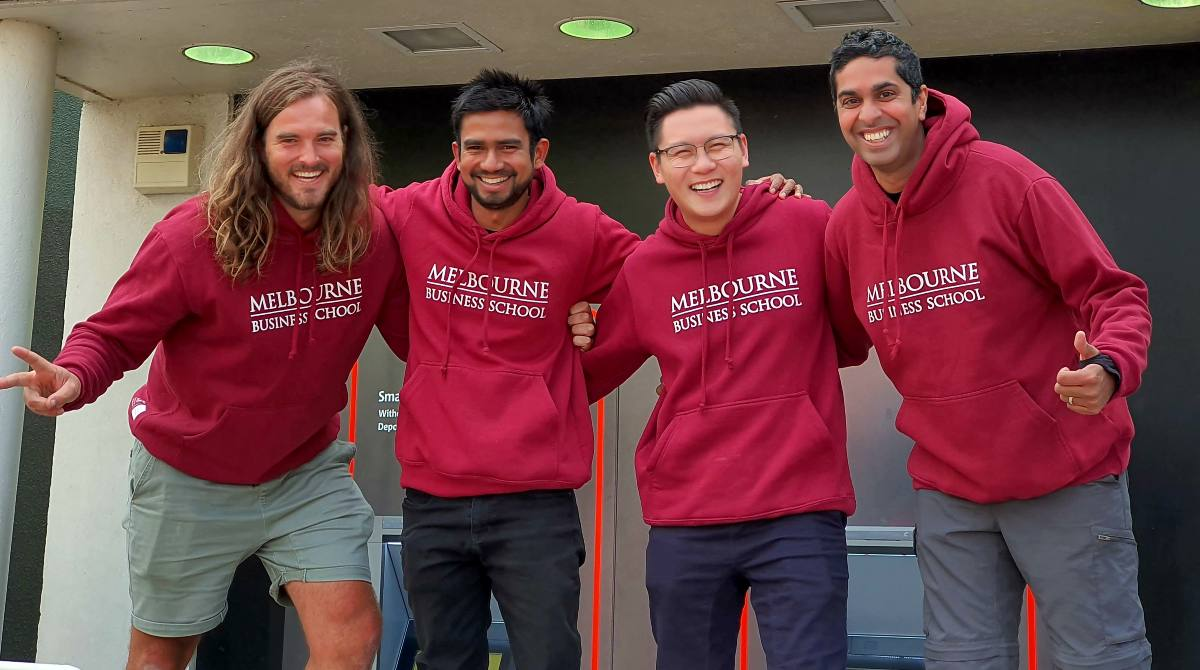 MBA students Chris Watkins, Dushan Wickramarathna, Gideon Lui and David Nayagam from Melbourne Business School, who won the 2020 Zurich Enterprise Challenge